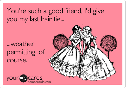You're such a good friend, I'd give you my last hair tie...    ...weather permitting, of course.