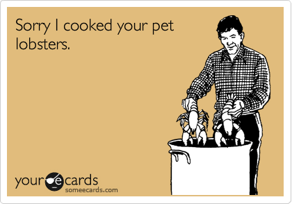 Sorry I cooked your pet lobsters.