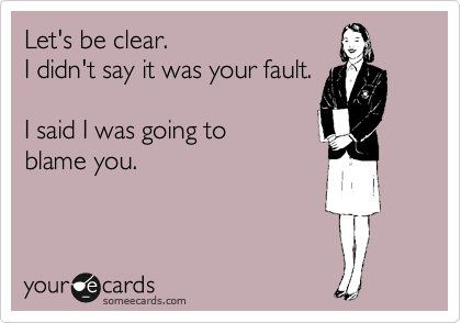 Let's be clear. I didn't say it was your fault.  I said I was going to  blame you.