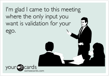 I'm glad I came to this meeting where the only input you want is validation for your ego.