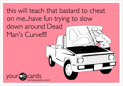 this will teach that bastard to cheat on me...have fun trying to slow down around Dead Man's Curve!!!!