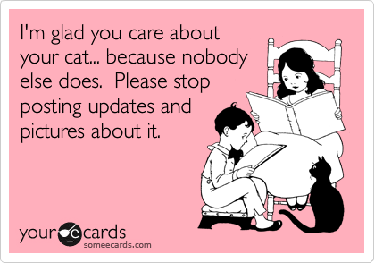 I'm glad you care about your cat... because nobody else does.  Please stop posting updates and pictures about it.