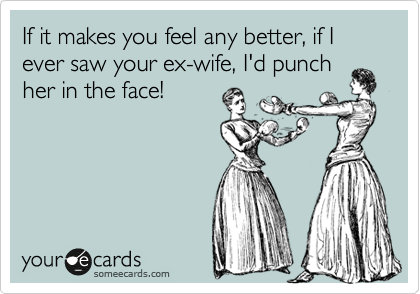 If it makes you feel any better, if I ever saw your ex-wife, I'd punch her in the face!