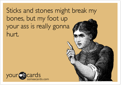 Sticks and stones might break my bones, but my foot up your ass is really gonna hurt.