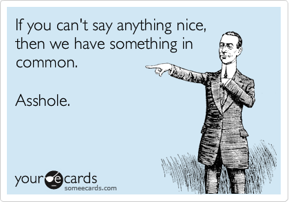 If you can't say anything nice, then we have something in common.    Asshole.