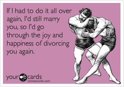 If I had to do it all over again, I'd still marry you, so I'd go through the joy and happiness of divorcing you again.