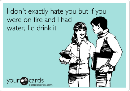 I don't exactly hate you but if you were on fire and I had water, I'd drink it