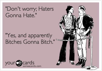 """Don't worry; Haters Gonna Hate.""   ""Yes, and apparently  Bitches Gonna Bitch."""