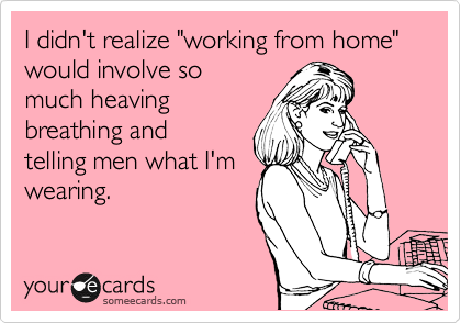 "I didn't realize ""working from home"" would involve so  much heaving breathing and telling men what I'm wearing."