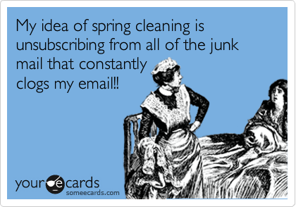 My idea of spring cleaning is unsubscribing from all of the junk mail that constantly clogs my email!!