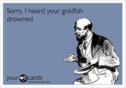 Sorry, I heard your goldfish drowned