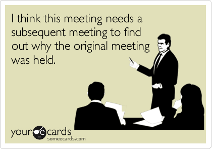 I think this meeting needs a subsequent meeting to find out why the original meeting was held.