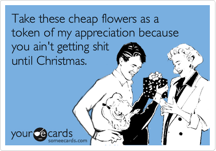 Take these cheap flowers as a token of my appreciation because you ain't getting shit until Christmas.