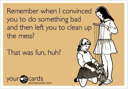Remember when I convinced you to do something bad and then left you to clean up the mess?    That was fun, huh?