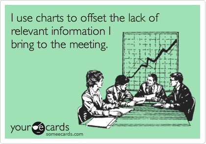 I use charts to offset the lack of relevant information I bring to the meeting.