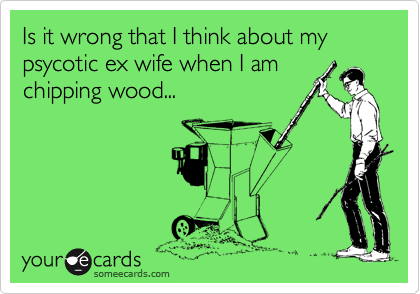 Is it wrong that I think about my psycotic ex wife when I am chipping wood...