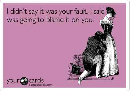 I didn't say it was your fault. I said I was going to blame it on you.