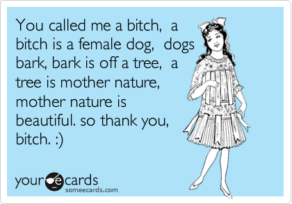 You called me a bitch,  a bitch is a female dog,  dogs bark, bark is off a tree,  a tree is mother nature,  mother nature is beautiful. so thank you, bitch. :%29