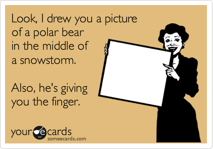 Look, I drew you a picture of a polar bear in the middle of a snowstorm.  Also, he's giving you the finger.