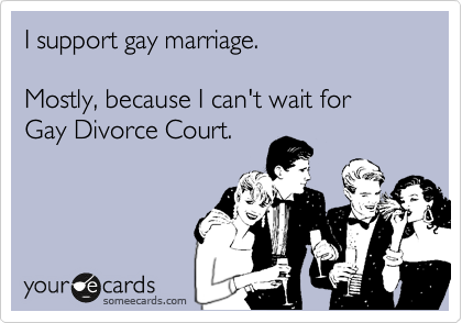 I support gay marriage.    Mostly, because I can't wait for  Gay Divorce Court.