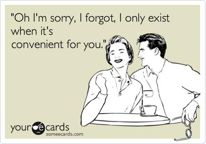 """Oh I'm sorry, I forgot, I only exist when it's convenient for you."""