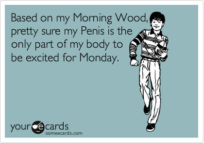 Based on my Morning Wood, I'm pretty sure my Penis is the only part of my body to be excited for Monday.