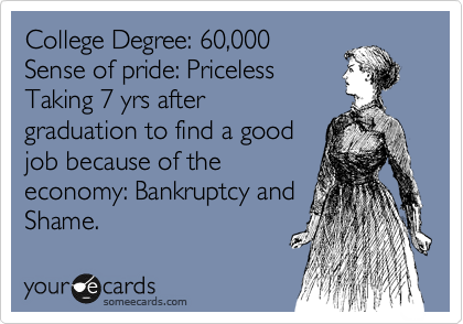 College Degree: 60,000  Sense of pride: Priceless  Taking 7 yrs after  graduation to find a good job because of the economy: Bankruptcy and Shame.