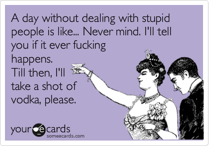 A day without dealing with stupid people is like... Never mind. I'll tell you if it ever fucking happens. Till then, I'll take a shot of vodka, please.