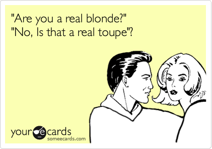 """""""Are you a real blonde?"""" """"No, Is that a real toupe""""?"""