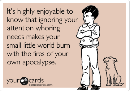 It's highly enjoyable to know that ignoring your attention whoring needs makes your small little world burn with the fires of your own apocalypse.