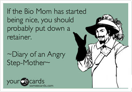 If the Bio Mom has started being nice, you should probably put down a retainer.  %7EDiary of an Angry Step-Mother%7E