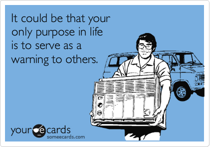 It could be that your only purpose in life is to serve as awarning to others.