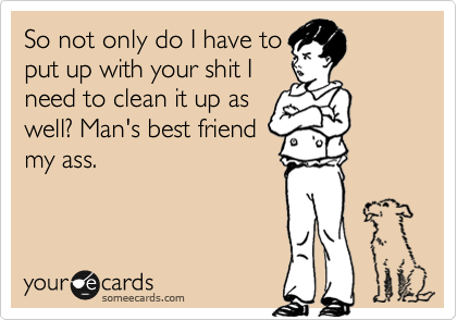 So not only do I have to put up with your shit I need to clean it up as well? Man's best friend my ass.