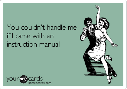 You couldn't handle me  if I came with an instruction manual