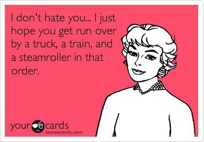I don't hate you... I just hope you get run over by a truck, a train, and a steamroller in that order.