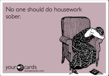 No one should do housework sober.