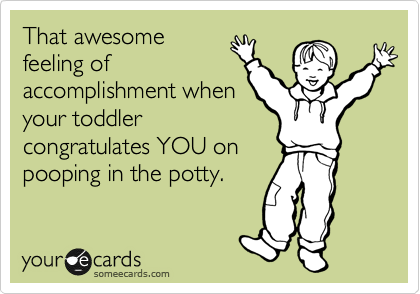 That awesome feeling of accomplishment when your toddler congratulates YOU on pooping in the potty.