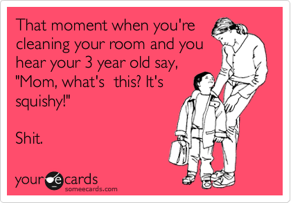 """That moment when you're cleaning your room and you hear your 3 year old say, """"Mom, what's  this? It's squishy!""""    Shit."""