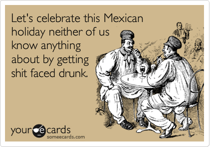 Let's celebrate this Mexican holiday neither of us know anything about by getting shit faced drunk.
