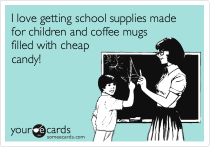 I love getting school supplies made for children and coffee mugs filled with cheap  candy!