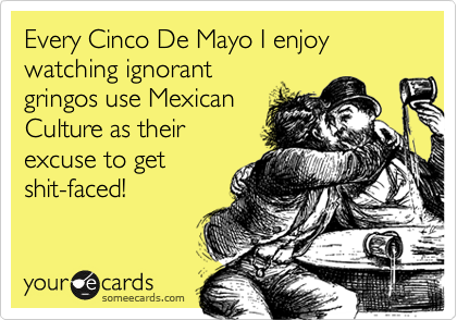 Every Cinco De Mayo I enjoy watching ignorant gringos use Mexican Culture as their excuse to get shit-faced!