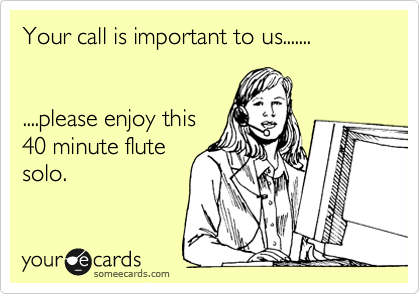Your call is important to us.......    ....please enjoy this 40 minute flute solo.