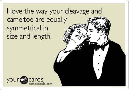 I love the way your cleavage and cameltoe are equally symmetrical in size and length!