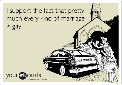 I support the fact that pretty  much every kind of marriage is gay.