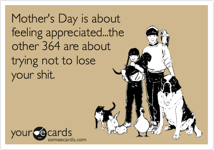 Mother's Day is about feeling appreciated...the other 364 are about trying not to lose your shit.