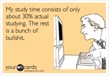My study time consists of only about 30% actual studying. The rest is a bunch of bullshit.