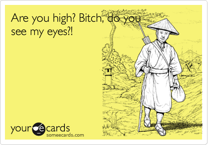 Are you high? Bitch, do you see my eyes?!