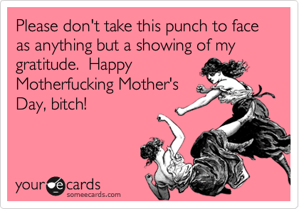 Please don't take this punch to face as anything but a showing of my gratitude.  Happy Motherfucking Mother's Day, bitch!