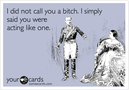 I did not call you a bitch. I simply said you were acting like one.