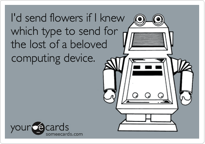 I'd send flowers if I knew which type to send for the lost of a beloved computing device.